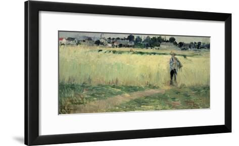 In the Wheatfield at Gennevilliers, 1875-Berthe Morisot-Framed Art Print