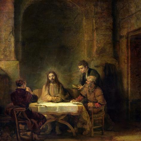 The Supper at Emmaus, 1648-Rembrandt van Rijn-Stretched Canvas Print