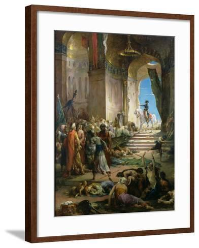 Napoleon Bonaparte (1769-1821) in the Grand Mosque at Cairo-Henri Levy-Framed Art Print