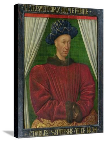 Portrait of Charles VII, King of France, circa 1445-50-Jean Fouquet-Stretched Canvas Print