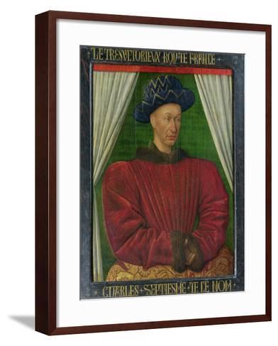 Portrait of Charles VII, King of France, circa 1445-50-Jean Fouquet-Framed Art Print