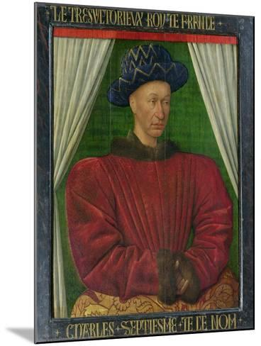 Portrait of Charles VII, King of France, circa 1445-50-Jean Fouquet-Mounted Giclee Print