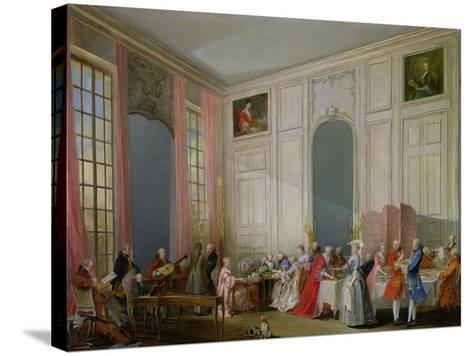 The English Tea (Le the a L'Anglaise) and a Society Concert at the House of the Princesse De Conti-Michel Barth?l?my Ollivier-Stretched Canvas Print