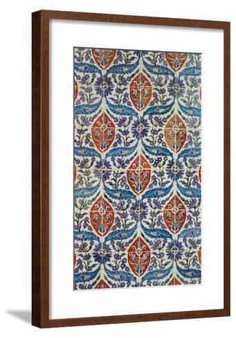 Panel of Isnik Earthenware Tiles from the Baths of Eyup Eusaki, Istanbul, circa 1550-1600--Framed Art Print