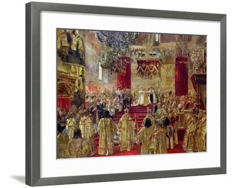 Study for the Coronation of Tsar Nicholas II (1868-1918) and Tsarina Alexandra (1872-1918)-Henri Gervex-Framed Art Print