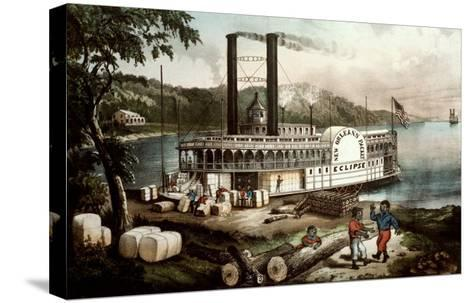 Loading Cotton on the Mississippi, 1870-Currier & Ives-Stretched Canvas Print