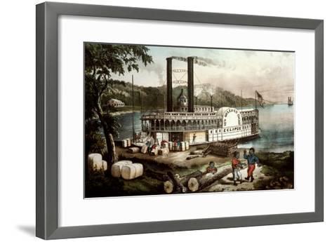 Loading Cotton on the Mississippi, 1870-Currier & Ives-Framed Art Print