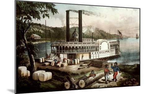 Loading Cotton on the Mississippi, 1870-Currier & Ives-Mounted Giclee Print