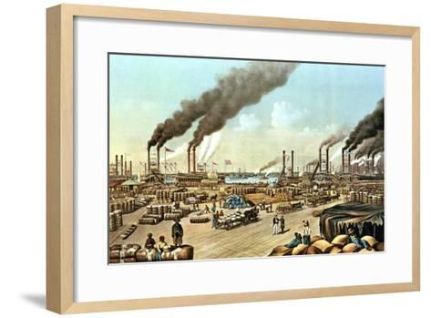 The Levee, New Orleans, 1884-Currier & Ives-Framed Art Print