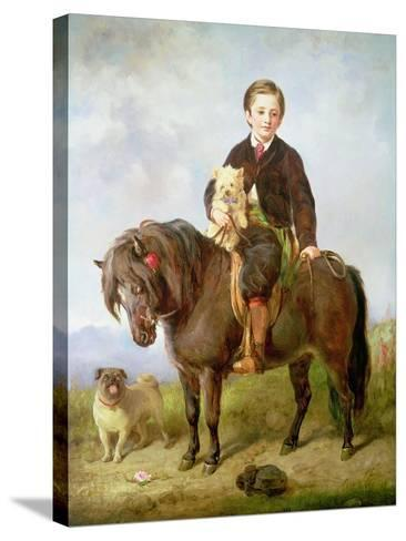 John Samuel Bradford as a Boy Seated on a Shetland Pony with a Pug Dog-Gourlay Steell-Stretched Canvas Print