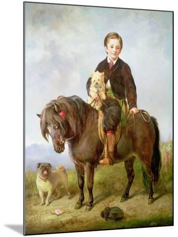 John Samuel Bradford as a Boy Seated on a Shetland Pony with a Pug Dog-Gourlay Steell-Mounted Giclee Print