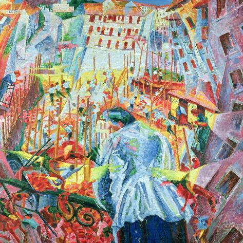 The Street Enters the House, 1911-Umberto Boccioni-Stretched Canvas Print