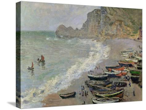 Etretat, Beach and the Porte D'Amont, 1883-Claude Monet-Stretched Canvas Print