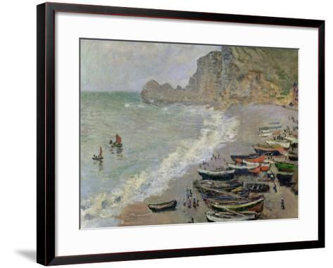Etretat, Beach and the Porte D'Amont, 1883-Claude Monet-Framed Art Print