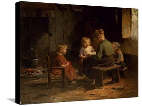 The Reading Lesson-Evert Pieters-Stretched Canvas Print
