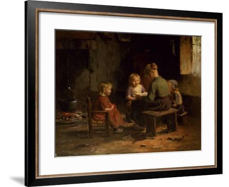 The Reading Lesson-Evert Pieters-Framed Art Print