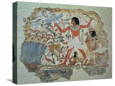 Nebamun Hunting in the Marshes with His Wife an Daughter, Part of a Wall Painting--Stretched Canvas Print