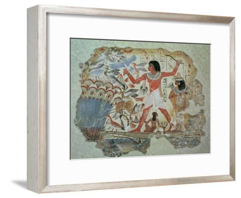 Nebamun Hunting in the Marshes with His Wife an Daughter, Part of a Wall Painting--Framed Art Print