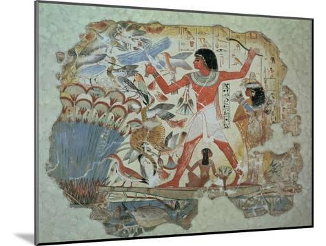 Nebamun Hunting in the Marshes with His Wife an Daughter, Part of a Wall Painting--Mounted Giclee Print