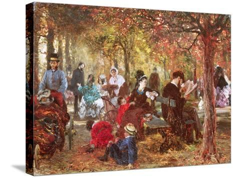 In the Luxembourg Gardens-Adolph von Menzel-Stretched Canvas Print