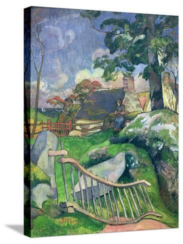 The Wooden Gate Or, the Pig Keeper, 1889-Paul Gauguin-Stretched Canvas Print