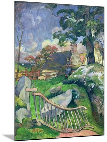 The Wooden Gate Or, the Pig Keeper, 1889-Paul Gauguin-Mounted Giclee Print