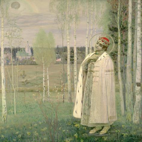 Tsarevich Dimitry, Son of the Assassinated Tsar Nicholas-Mikhail Vasilievich Nesterov-Stretched Canvas Print