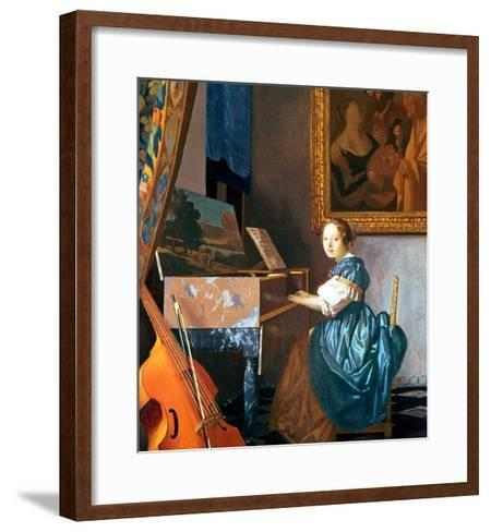 A Young Lady Seated at a Virginal, circa 1670-Johannes Vermeer-Framed Art Print