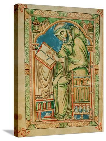 Monk Eadwine at Work on the Manuscript, circa 1150--Stretched Canvas Print
