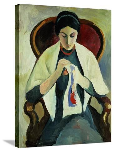 Woman Sewing-Auguste Macke-Stretched Canvas Print