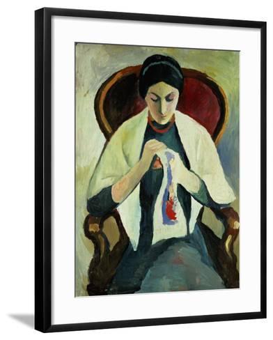 Woman Sewing-Auguste Macke-Framed Art Print
