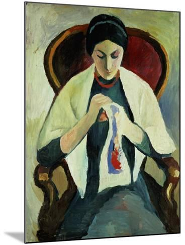 Woman Sewing-Auguste Macke-Mounted Giclee Print