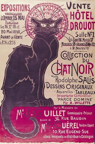 Poster Advertising an Exhibition of the Collection Du Chat Noir Cabaret at the Hotel Drouot, Paris-Th?ophile Alexandre Steinlen-Stretched Canvas Print