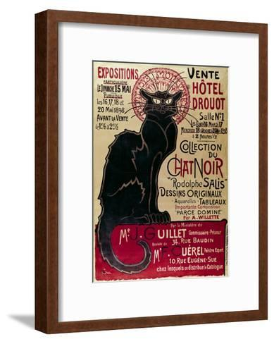 Poster Advertising an Exhibition of the Collection Du Chat Noir Cabaret at the Hotel Drouot, Paris-Th?ophile Alexandre Steinlen-Framed Art Print