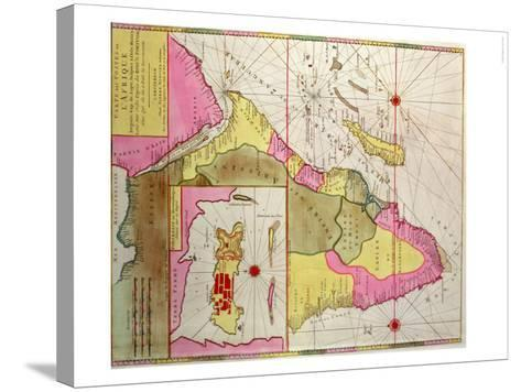 Map of Africa, Including a Detail of the Fortress of Mozambique, circa 1700, Portuguese--Stretched Canvas Print