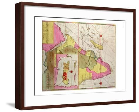 Map of Africa, Including a Detail of the Fortress of Mozambique, circa 1700, Portuguese--Framed Art Print