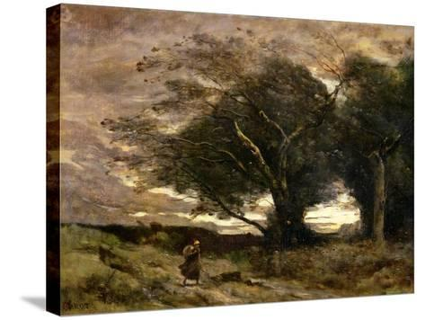 Gust of Wind, 1866-Jean-Baptiste-Camille Corot-Stretched Canvas Print