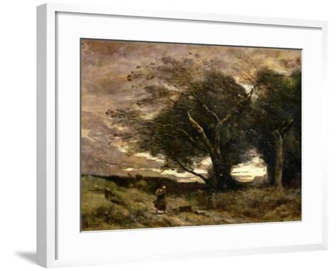 Gust of Wind, 1866-Jean-Baptiste-Camille Corot-Framed Art Print