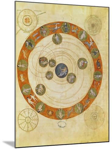 Phenomenes D'Aratus, Cosmological Diagram (Map of the Heavens)--Mounted Giclee Print