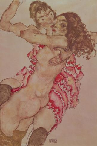 Two Girls Embracing, 1915-Egon Schiele-Stretched Canvas Print