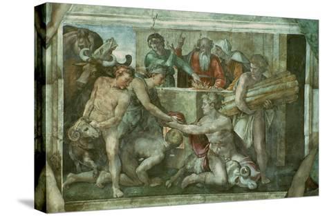 Sistine Chapel Ceiling: Noah after the Flood (Pre Restoration)-Michelangelo Buonarroti-Stretched Canvas Print