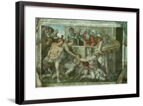 Sistine Chapel Ceiling: Noah after the Flood (Pre Restoration)-Michelangelo Buonarroti-Framed Art Print