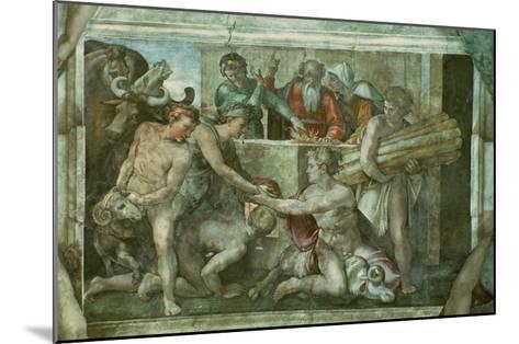 Sistine Chapel Ceiling: Noah after the Flood (Pre Restoration)-Michelangelo Buonarroti-Mounted Giclee Print
