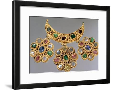 Crescent Shaped Necklace with Pendants Set with Semi Precious Stones, Moscow--Framed Art Print