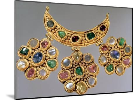 Crescent Shaped Necklace with Pendants Set with Semi Precious Stones, Moscow--Mounted Giclee Print