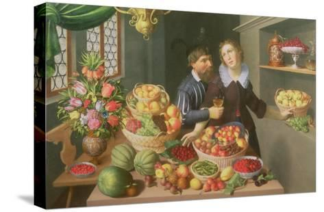 Man and Woman Before a Table Laid with Fruits and Vegetables-Georg Flegel-Stretched Canvas Print