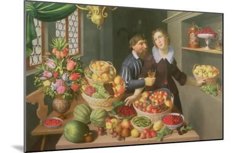 Man and Woman Before a Table Laid with Fruits and Vegetables-Georg Flegel-Mounted Giclee Print