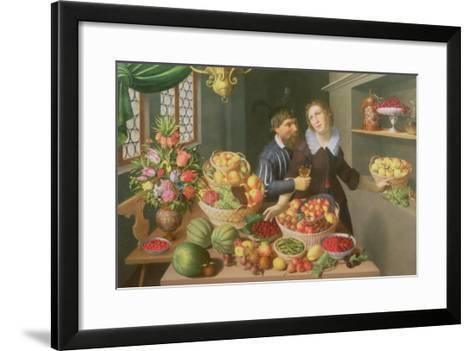 Man and Woman Before a Table Laid with Fruits and Vegetables-Georg Flegel-Framed Art Print