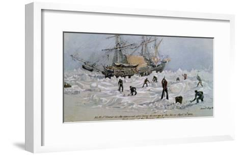 Hms Terror as She Appeared after Being Thrown up by the Ice in Frozen Channel, September 27th 1836-Lieutenant Smyth-Framed Art Print