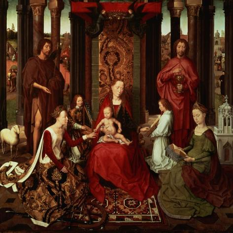 Mystic Marriage of St. Catherine and Other Saints-Hans Memling-Stretched Canvas Print